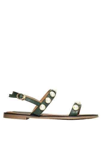 Twenty Eight Shoes 綠色 珠飾平底涼鞋 VS2281 D7214SHDA08BE4GS_1