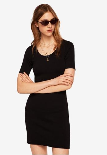 Mango black Fitted Jersey Dress 6DD4AAAE77D63DGS_1
