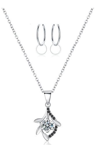 A-Excellence white Premium Elegant White Sliver Necklace Earring Set D8944AC57DC01DGS_1