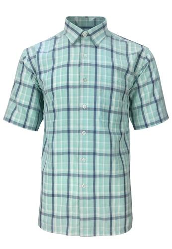 Pacolino blue Pacolino - Korea Polynosic Wrinkle Free Checker Formal Casual Short Sleeve Men Shirt 4EBF6AAA56EFABGS_1