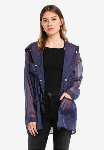 Something Borrowed navy Sheer Oversized Parka C1881AA4366A46GS_1