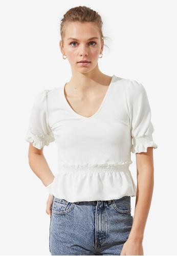 Trendyol white V Neck Shirred Waist Top 11C58AAACF9278GS_1