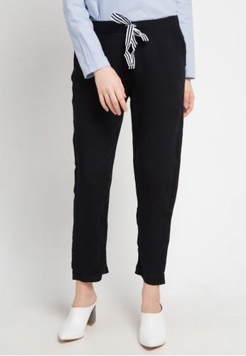 ZAHRA SIGNATURE black Longpant Cotton W/ Striped Tape FBF60AA9B7A929GS_1