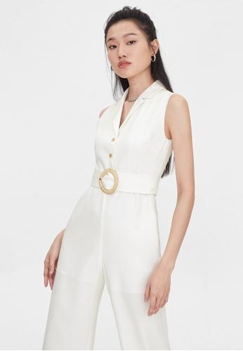 Pomelo white Sleeveless Round Buckle Jumpsuit - White B4A9CAA8E53E37GS_1
