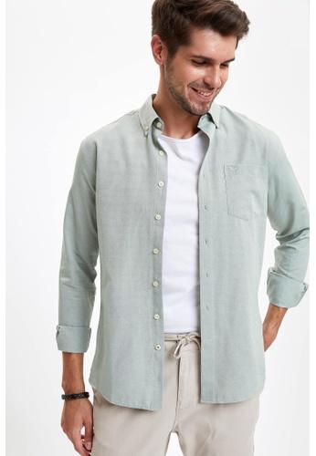 DeFacto green Man Woven Top Long Sleeve Shirt 9967DAAFCB3C2CGS_1