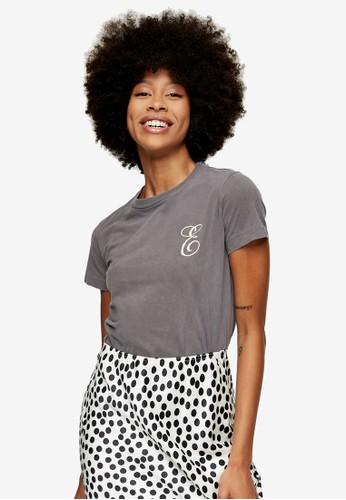 TOPSHOP grey Charcoal Grey Embroidered E Letter T-Shirt 7E8E0AA0E5F25BGS_1