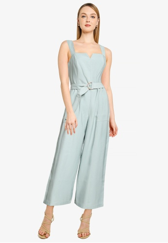 Forever New green Petite Aurora Wide Leg Belted Jumpsuit C0AB0AAB4ABE66GS_1