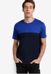 Burton Menswear London blue Blue And Navy Colour Block T-Shirt BU964AA98ZNTMY_1