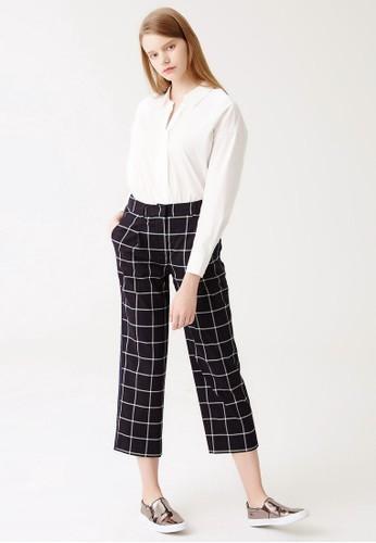 格紋九分直筒esprit分店褲, 服飾, 長褲及內搭褲
