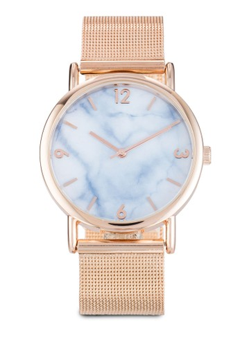 Marble Face Mesh Strap Watch