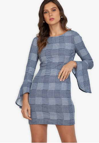 ZALORA WORK multi Fluted Sleeves Bodycon Dress D12E6AA0BF1CDDGS_1