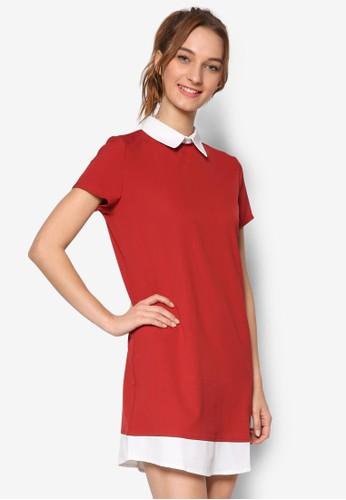 假兩件撞色領esprit 會員短袖連身裙, 服飾, 服飾