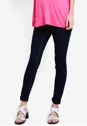 Dorothy Perkins blue Maternity Overbump Indigo Super Skinny Jeans DO816AA57ZESMY_1