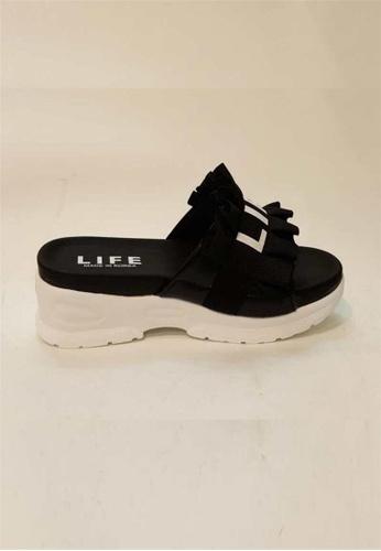 Crystal Korea Fashion black and white Korean-made Summer Letter Slippers 83C0BSHFB2EC82GS_1
