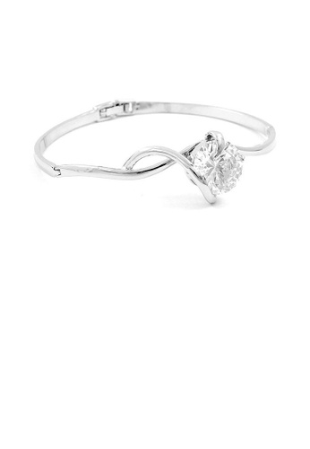 Glamorousky silver Glistening Bangle with Silver CZ Bead 315D0AC3EC2D4FGS_1