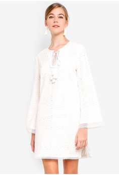 Dressing Paula white Tasseled Broderie Anglaise Dress AC16EAA336ACAEGS 1 f24513a35