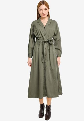 LOWRYS FARM green Midi Shirt Dress 34BA9AAE270902GS_1