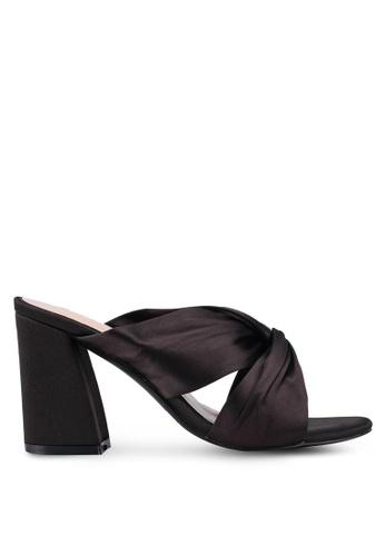 Public Desire black Primrose Satin Knot Heeled Sandals 8E2A8SHB42C568GS_1