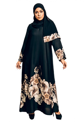 Imaan Boutique black and orange Ulya Abaya Beige 816BAAA2783537GS_1