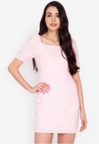 ZALORA BASICS 粉紅色 方領合身洋裝 0CE77AAC200D68GS_1