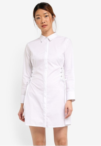 Something Borrowed white Lace Up Shirt Dress 24877AA01BD6B2GS_1