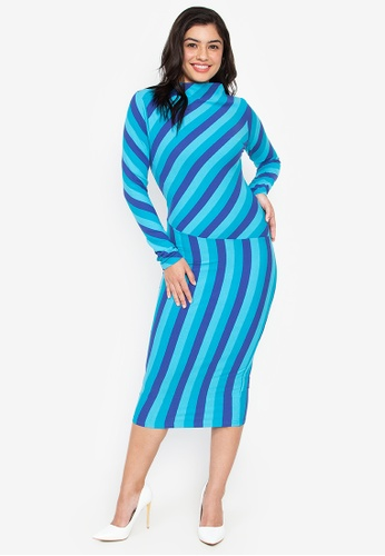 Wear Kris blue Kaboom Stripe Boat Neck Dress 535A4AACFE3FEDGS_1