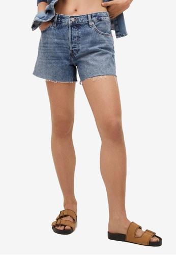 Mango blue Frayed Hem Mini Shorts E329BAA09C4D35GS_1