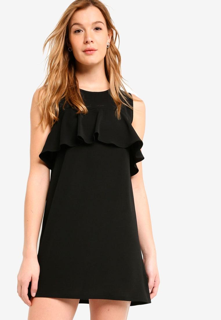 BASICS Frill Detail Dress Black Basic ZALORA UfRYSAq4w