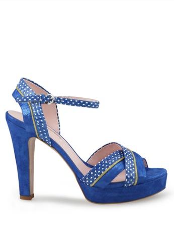 Shu Talk blue Cute Polka Dots Crossed Ankle Straps High Heels SH617SH2VI7RHK_1