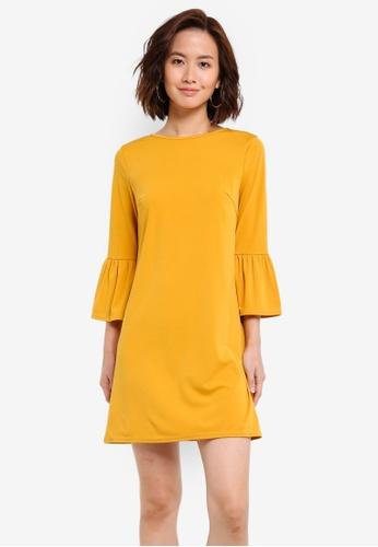 ZALORA yellow Fluted Sleeve Shift Dress 63881AA7CD3F36GS_1
