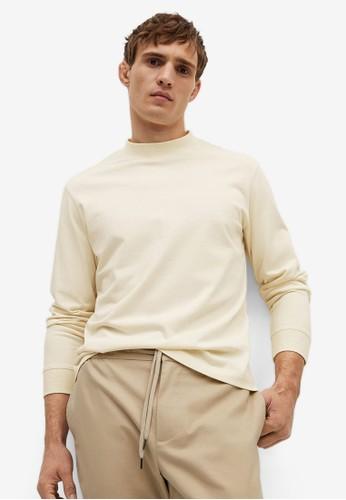 MANGO Man white Long Sleeve Cotton T-Shirt 4EA4FAAF06B097GS_1