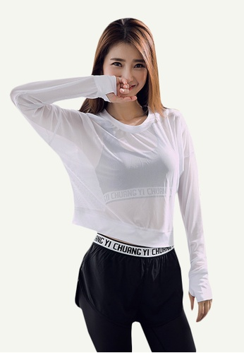 B-Code white ZYG5121-Lady Quick Drying Running Fitness Yoga Sports Long Sleeve Top-White 0AD6BAAEA89A65GS_1