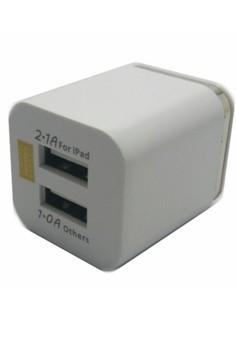 Universal Dual USB Plug Adapter Charger (White)