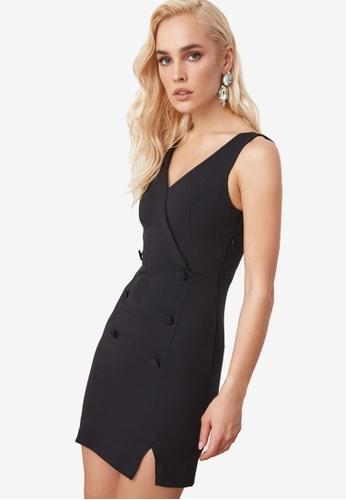 Trendyol black One Sleeve Jacket Collar Dress B121CAAFD9E558GS_1
