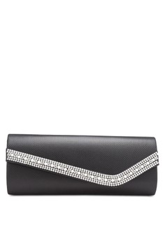 Unisa PU-Textured Dinner Clutch with Glittering Pearl & Crystal Embellishment