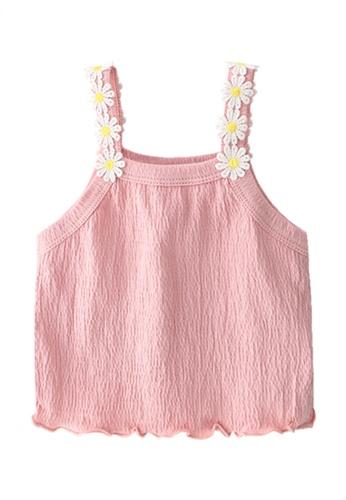 Kiddies Crew pink Lace Floral Daisies Spaghetti Strap Girls Baby Kids Ruffle Hem Sleeveless Blouse Tank Top (Pink) 0FCFDKA72D79E2GS_1