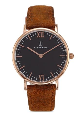 57d29f99379 Shop Kapten   Son Campina Black Brown Vintage Watch Online on ZALORA  Philippines