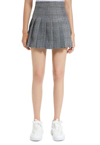 London Rag grey Grey Mélange Plaid Mini Skirt F069FAAC5BF36AGS_1
