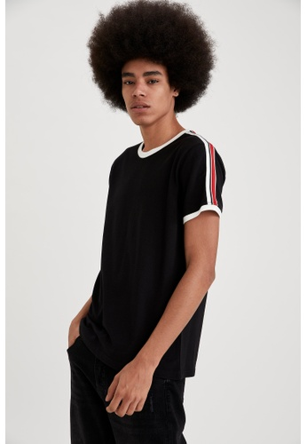 DeFacto black Short Sleeve Round Neck Cotton Striped T-Shirt 5B355AAA115DB3GS_1