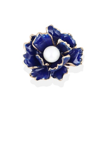Glamorousky white Fashion and Elegant Plated Gold Blue Flower Brooch with Imitation Pearls 1D70EAC1898F8FGS_1