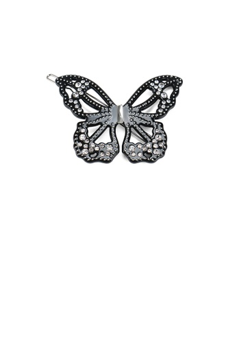 Glamorousky black Fashion and Elegant Black Hollow Butterfly Hair Clip with Cubic Zirconia 5F246AC4C0F2D5GS_1
