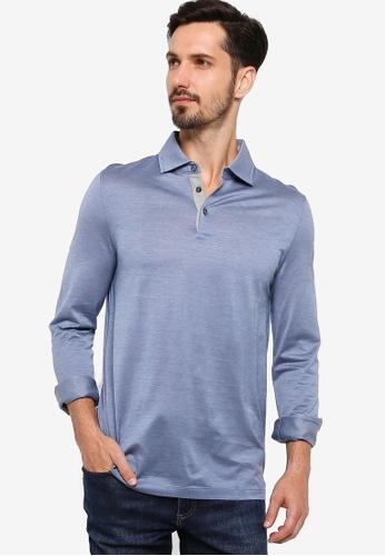 BOSS blue T-Morrison 09 Long Sleeve Polo Shirt 2C369AAEDC577AGS_1