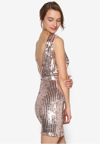 Olivia 前後V 口金屬感連身裙,zalora 男鞋 評價 服飾, 服飾