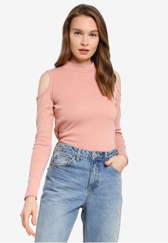 UniqTee pink Summer Cold Shoulder Crop Top 06507AA6EC412BGS_1