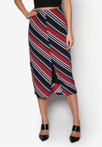 前開叉撞色條紋中長裙,zalora 心得 服飾, 及膝裙