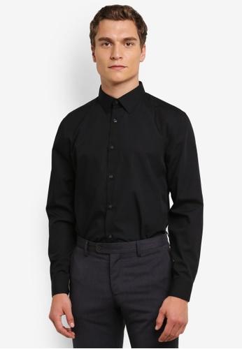 Burton Menswear London 黑色 Black Tailored Fit Easy Iron Shirt BU964AA0RQO9MY_1