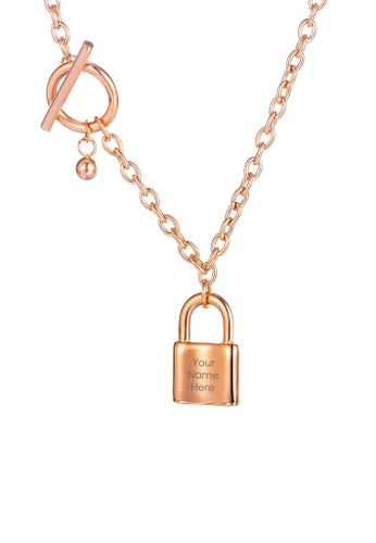 CELOVIS gold CELOVIS - Commitment Padlock Pendant Toggle Clasp Necklace in Rose Gold 5CF7BAC7CD2048GS_1