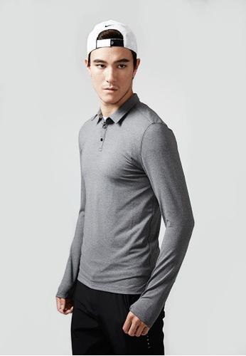 Life8 grey Training Antistatic Long Sleeve Polo Shirt-1307101-Grey LI283SE95EJGSG_1