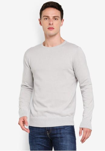 Brave Soul beige and grey Contrast Inner Tipping Crew Neck Jumper 03D66AA93C206FGS_1