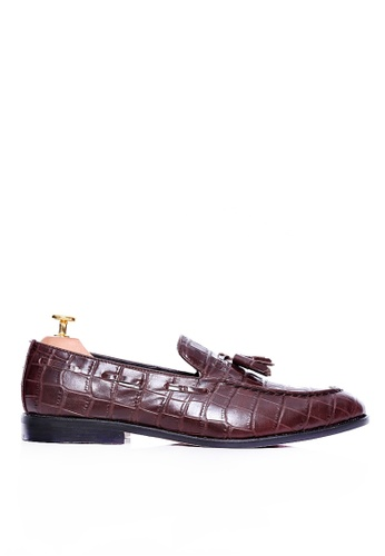 Zeve Shoes brown Zeve Shoes Tassel Loafer - Dark Brown Crocodile Leather 6D938SH1AE16CBGS_1